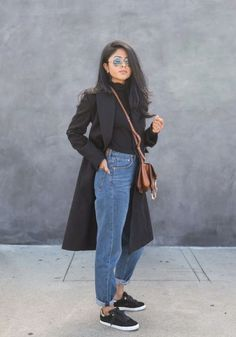 smart black maxi coat with high waisted denim