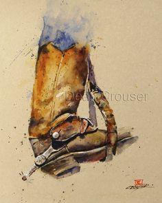 COWBOY BOOTS Watercolor Print by Dean Crouser by DeanCrouserArt