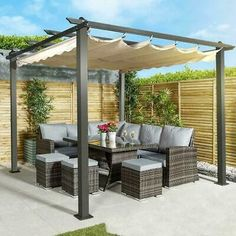 Make the most of your outdoor space with a gazebo with slide-away sun shade from Monaco. pergola Monaco Metal Gazebo Pergola and Slide Away Sun Shade Gazebo Pergola, Outdoor Gazebos, Pergola Shade, Gazebo Ideas, Metal Pergola, Corner Pergola, Garden Ideas With Decking, Simple Garden Ideas, Small Back Garden Ideas