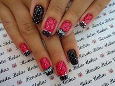 55 Modelos de Unhas Decoradas com bolinhas para te inspirar Polka Dot Nails, Pink Nails, Toe Nails, Nail Nail, New Nail Art, Cute Nail Art, Nail Polish Designs, Nail Art Designs, Studded Nails