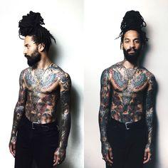 Someone please tattoo my neck. Black Power, Dreadlocks Men, Tight Braids, Handsome Black Men, Natural Hair Styles, Long Hair Styles, Dreadlock Hairstyles, Beard Tattoo, Man Bun