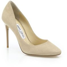 Jimmy Choo Esme 100 Suede Pumps ($650) ❤ liked on Polyvore featuring shoes, pumps, apparel & accessories, beige, beige pumps, suede pumps, cushioned shoes, suede shoes and round toe suede pumps