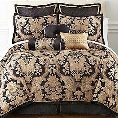 Royal Velvet Vanessa 4-pc. Comforter Set - home and bedding (black and gold, oversized medallion print, elegant bedroom decor)