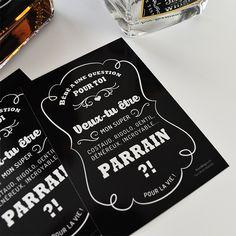 Idée de demande en parrain originale: étiquette à coller sur bouteille de whisky, ou autre, à offrir au futur parrain pour une demande originale.