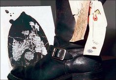 Among evidence still at the Finney County Sheriff's office in Garden City is a boot worn by killer Perry Smith. In Cold Blood, Famous Murders, Sheriff Office, True Crime, Kansas, Riding Boots, Clutter, Literature, Shots