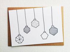 Christmas card - Kerstkaart - Card - Happy new year card - Card christmas - Holiday card - Christmas baubles - xmas - Kerstbal - Handdrawn