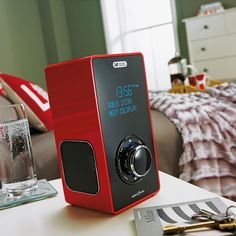 Argos Acoustic Solutions red vertical DAB radio is a funky addition to any room.