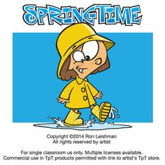 """Spring is in the air. Are you ready with fresh, funny, engaging clipart? This hilarious set of cartoons includes friendly, zany cartoon characters that students won't forget. """"Sprintime"""" includes 20 unique cartoon images of kids in a variety of humorous situations that will definitely elicit smiles from your students."""