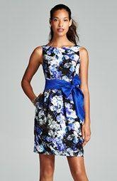 Eliza J Floral Print Faille Fit & Flare Dress (Regular & Petite)