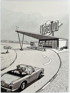 "Loustal, Liberation ""Full of readers"" by Loustal – Illustration for the French newspaper Liberation, 1986 [ Bike Illustration, Comic Book Panels, Old Gas Stations, Ligne Claire, Graphic Artwork, Bd Comics, Comic Styles, Paper Models, Illustrations"