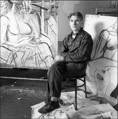 "Willem de Kooning in his studio in 1950  ""He would work on paintings for enourmously long stretches of time. Just simply be unsatisfied. I would come in and there would be a terrific painting and Bill would grudgingly admit that it wasn't bad… He was very discontented - constantly.""           ~  Elaine de Kooning"