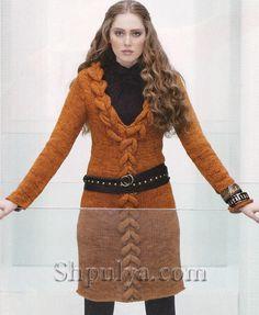 Платье с v-образным вырезом и крупными косами