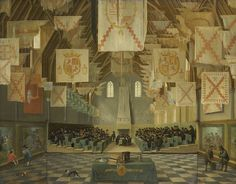 The Ridderzaal of the Binnenhof during the Great Assembly of 1651, Bartholomeus van Bassen, Anthonie Palamedesz., c. 1651