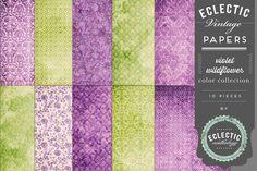 Vintage Printable Papers - Violet Wildflower