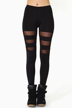 Shadow Line Leggings, Three Stripe Mesh Detail on Upper Thigh, Sneakers.