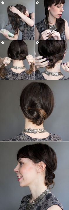 How to do a knotted chignon hairstyle step-by-step.
