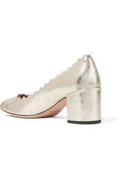 Chloé - Lauren Scalloped Metallic Cracked-leather Pumps - Gold - IT35.5