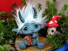 """OOAK Goblin girl Trollfling Troll doll """"Phoebe"""" with her puppy doll """"Scraps"""" by Amber Matthies"""