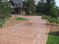 Tan Brown Driveway Concrete Driveways Decorative Coatings and Concrete Company… - front yard ideas no grass Concrete Driveway Resurfacing, Concrete Driveways, Walkways, Acid Wash Concrete, Stained Concrete, Concrete Stain Colors, Tan House, House Trim, Outdoor Fireplace Patio
