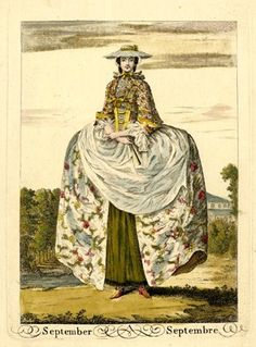A lady standing slightly to left, hands folded at her waist with a fan in her left hand, wearing a hooped gown decorated with flowers, apron, gauzy cape and broad-brimmed hat; with a river behind to left; from a set of twelve fashion plates.  1749 Hand-coloured etching and engraving