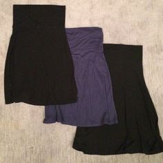 Trio of stretchy midi skirts or dresses Two black and one blue. Can be folded over as a skirt or worn as a strapless dress. Great cover-up. Old Navy Skirts Midi