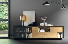 mueble salon roble y negro - Buscar con Google