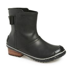 """SOREL 'Slimboot' Waterproof Pull-On Boot, 1 1/2"""" heel ($130) ❤ liked on Polyvore featuring shoes, boots, ankle booties, ankle boots, black, leather boots, waterproof leather boots, waterproof ankle boots, leather booties and black leather bootie"""