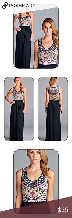 Stunning navy tribal maxi dress! Beautiful colors in a trivial print- fitted top- empire waist- flowy knit - stunning! Dresses Maxi