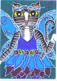 ACEO Original Cat Art Blue Flower Fairy Kitty C.O.R.K. by BRIDEOFHYDE  check out this site.  Interesting artist