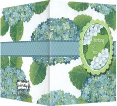 Thinking of You card with blue and white hydrangeas. Blank inside. Available wholesale or retail: http://www.violetcottage.com/thinking-of-you/33-thinking-of-you-blank-inside-blue-green-hydrangeas.html