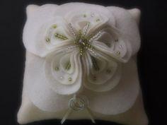 Ring Bearer Pillow Wedding Ivory Green magnolia flower choose your colors #ringbearerpillow by ArtisanFeltStudio, $50.00