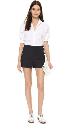 See by Chloe High-Rise Sailor Shorts + Tucked in rolled-sleeve button down + oxfords