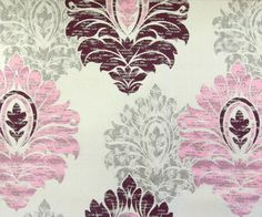 Pink Damask IL Fabric By The Yard Curtain Fabric Upholstery Fabric Curtain Panels Drapery Fabric Window Treatment Fabric Pink Purple Grey by FabricMart on Etsy https://www.etsy.com/listing/209196254/pink-damask-il-fabric-by-the-yard