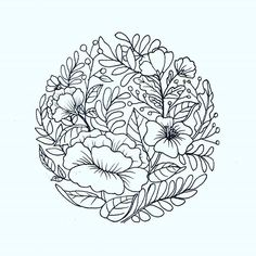 flowers in circle. I would like to tattoo this on someone! contact me if you… Embroidery Patterns, Hand Embroidery, Circle Drawing, Circle Tattoos, Circle Tattoo Design, Illustration Blume, Flower Circle, Floral Drawing, Flower Coloring Pages