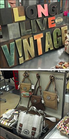 """Fossil """"Long Live Vintage"""" – Fixtures Close Up Market Stall Display, Point Of Purchase, Vintage Display, Fossil Purses, Suitcase, Shoulder Bag, Typo, Stage, Point Of Sale"""