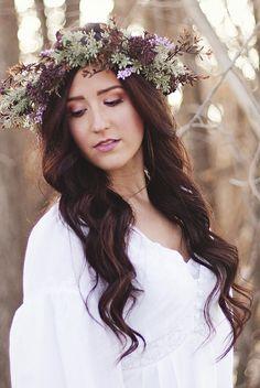 wedding makeup, floral head piece Tiffanyashtenmakeup.blogspot.com