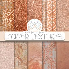 """Copper digital paper: """"COPPER TEXTURES"""" with copper background, copper glitter texture, copper background, copper textures, marble and"""