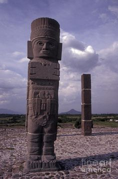 ✮ One of the Toltec Warrior sculptures or Atlantean Men on top of the Temple of Quetzalcoatl at the ruins of Tula, Hidalgo state, Mexico
