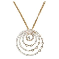 Chopard Happy Spirit Gold Diamond Pendant Necklace | From a unique collection of vintage more necklaces at https://www.1stdibs.com/jewelry/necklaces/more-necklaces/