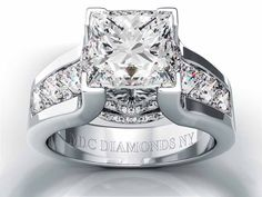 Engagement Ring -Modern Princess Diamond Engagement ring princess Diamonds band in Platinum-ES550PRPRPL