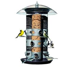 $44.99-$44.99 The Birdscapes Triple Tube holds 11 lbs. of seed, has 9 feeding stations, triple tube system which allows for three different types of seed to be dispensed and a tray to catch seeds and shells. The nine perch/feeding station set-up makes this feeder one of the most economical and convenient on the market! Classy, sleek and futuristic in design! The clear, shatter-proof plastic reser ...