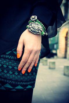 Shourouk bracelets & fluo nailpolish. Photo By Marieluvpink.com