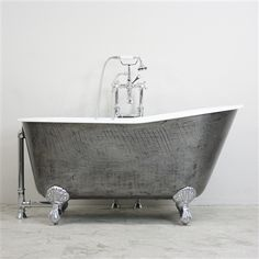 "'The Easby' 57"" Cast Iron Swedish Slipper Clawfoot Bathtub with a HAND BURNISHED Exterior plus Accessories"