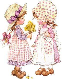 Holly Hobbie, Decoupage Vintage, Vintage Art, Sarah Key, Illustration Blume, Illustration Kids, Foto Poster, Cartoon Clip, Happy Paintings