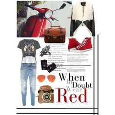 Love Red by caritoantezana on Polyvore featuring polyvore, moda, style, Topshop, Dsquared2, Converse, John Brevard and Kurt Geiger