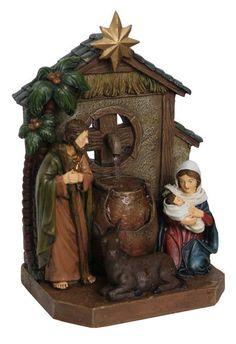Nativity Scene with Star Table Top Fountain Figurine