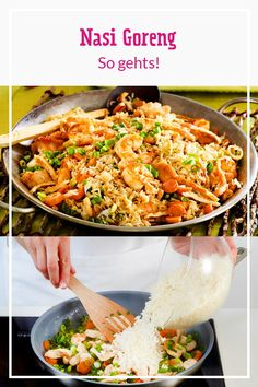 The Indonesian rice dish Nasi Goreng is a real classic. It's so easy to cook the popular rice pan at home. Preparing nasi goreng - how it works Recetas Whole30, Whole30 Recipes Lunch, Rice Recipes For Dinner, Clean Eating Recipes, Easy Healthy Recipes, Easy Meals, Eating Clean, Nasi Goreng, Smoothies Sains