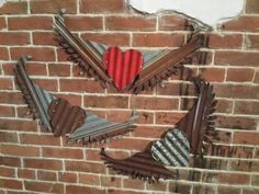 Heart with Wings made from Kansas Barn Tin  by Studio11Online