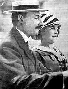 John Jacob Astor and his young pregnant wife. He was one of America's richest men. He went down on the Titanic. His wife was saved.
