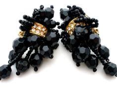 Vintage Black Rhinestone Bead Earrings Dangle Runway | eBay